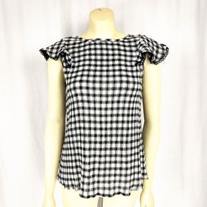 Michael Stars Tops - Michael Stars Gingham Black and White Blouse